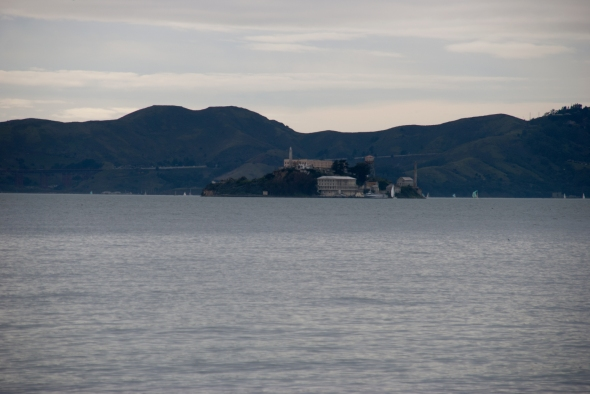 A shot of Alcatraz Island from Treasure Island