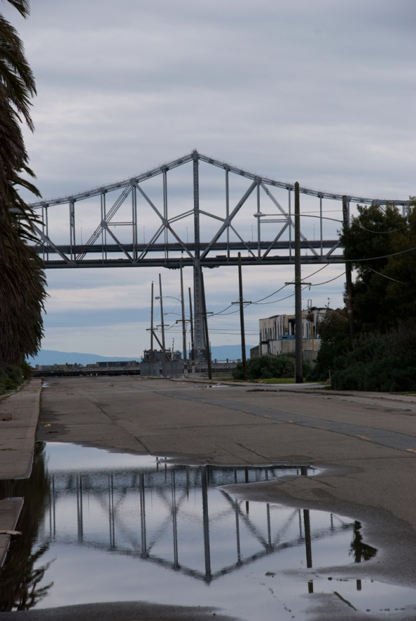 Shot of the Oakland Bay Bridge from Treasure Island